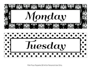 Black and White Damask and Dot Days of the Week Calendar Headers