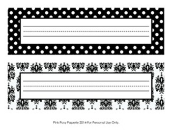 Black and White Damask and Dot Desk Name Plates