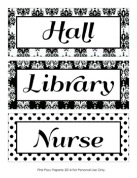 Black and White Damask and Dot Hall Passes