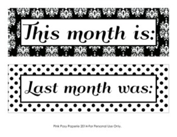 Black and White Damask and Dot Monthly Calendar Headers