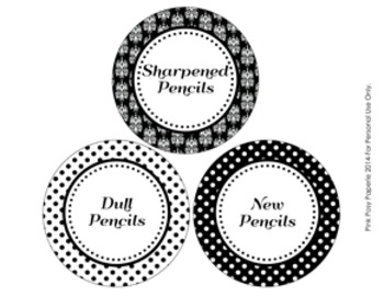 Black and White Damask and Dot Pencil Caddy Labels