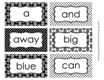 Black and White Damask and Dot Pre-Primer Dolch Sight Wall Words