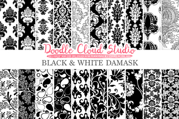 Black and White Damask digital paper, Swirls patterns, Digital Floral Damask