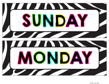 Neon Zebra Days of the Week