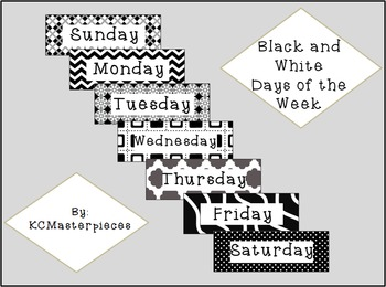 Black and White Days of the Week Signs