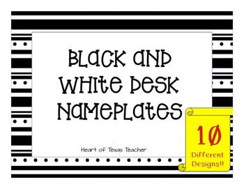 Black and White Desk Nameplates