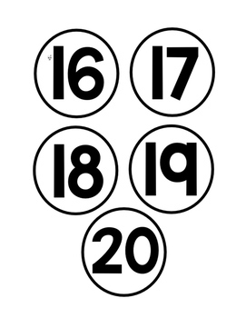 Black and White Desk Number Labels