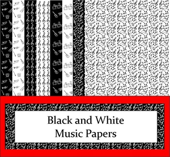 Black and White Digital Music Papers