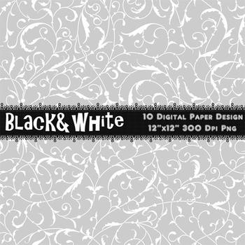 Black and White Digital Paper Damask Flower Flourish Swirl Pattern Digital Paper