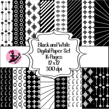 Black and White Digital Paper Pack- 16 Pages- 12 x 12