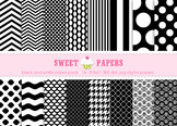 Black and White Digital Paper Pack - by Sweet Papers