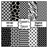 Black and White Digital Papers {8.5 x 11} Clip Art CU OK