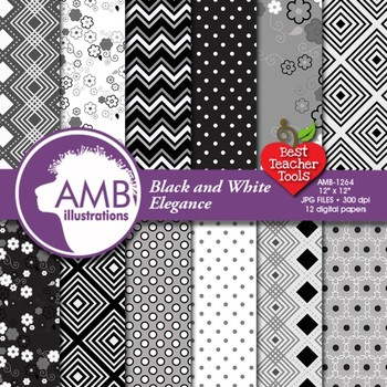 Black and White Digital Papers, Floral Papers, Geometric Patterns, AMB-1264