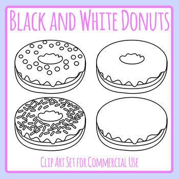 Black and White Donuts / Doughnuts Lineart / Clip Art Set