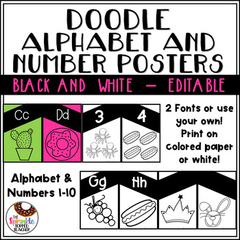 Editable Black and White Simple Doodle Alphabet and Number Posters