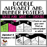 Editable Black and White Simple Doodle Alphabet and Number