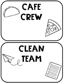 Black and White Doodle Class Job Teams and Crews Editable