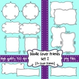 Black and White Doodle Cover Frames & Borders SET 2 for Commercial Use