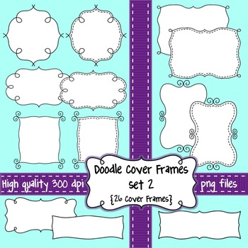 Black and White Doodle Cover Frames & Borders SET 2 for Co