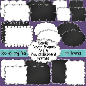 Black and White Doodle Cover Frames & Borders SET 3 Plus Chalkboard ...