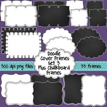 Black and White Doodle Cover Frames & Borders SET 3 Plus Chalkboard Frames