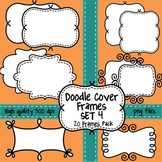Black and White Doodle Cover Frames & Borders SET 4 for Commercial Use