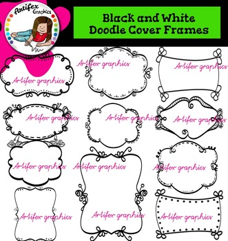 Black and White Doodle Cover Frames clip art