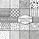 Black and White Doodle Digital Paper 1192