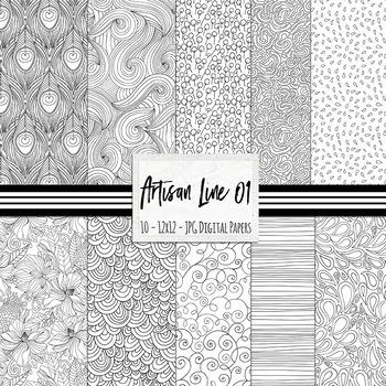 Black and White Doodle Digital Paper, Background Paper Bundle, Line Illustration