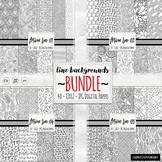 BUNDLE Black & White Doodle Digital Paper, Coloring Background Papers, Line Art