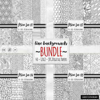 BUNDLE Black & White Doodle Digital Paper, Coloring Background Papers, Line Art