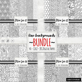 BUNDLE Black & White Doodle Digital Paper, Coloring Backgr