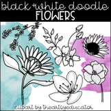 Black and White Doodle Flowers Clip Art