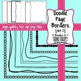 Black and White Doodle Page Borders SET 2 for Commercial Use
