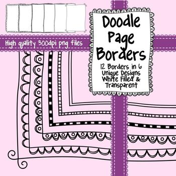 Black and White Doodle Page Borders for Commercial Use