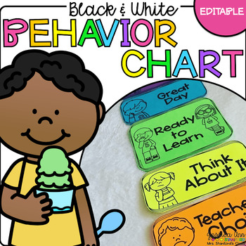 Black and White *EDITABLE* Behavior Clip Chart