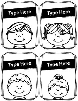 Black and White EDITABLE Students Labels
