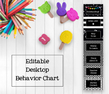 Black and White EDITABLE Take Home Mini Desktop Behavior Chart
