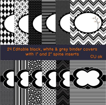 Black and White Editable Binder Covers (versions 1 & 2 Combo pack)
