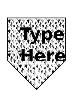 Black and White Editable Cactus Theme Banner