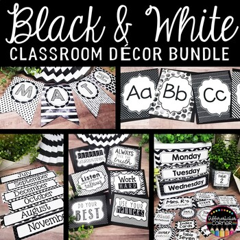 Black And White Editable Classroom Decor By Differentiation Corner