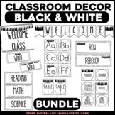 Black and White Editable Classroom Decor BUNDLE