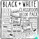 Black and White Editable Classroom Decor Pack