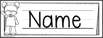 Black and White Editable Name Plates with Kids Theme