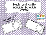 Black and White Editable Schedule Cards