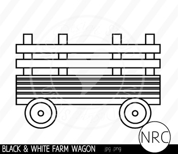 Black and White Farm Wagon Clip Art- Commercial Use Clipart