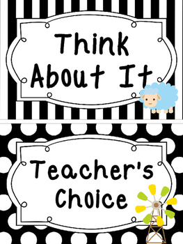 Black and White Farm themed Behavior Clip Chart-7 Cards
