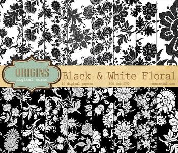 Black and White Floral Digital Scrapbook Paper Backgrounds