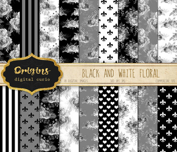 Black and White Floral digital paper, printable silver gray flower backgrounds