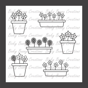 Black and White Flowers in Plant Pots Clip Art Clipart Garden Spring Summer